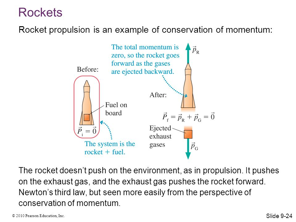 © 2010 Pearson Education, Inc. Rockets Rocket propulsion is an example of conservation of momentum: The rocket doesn't push on the environment, as in