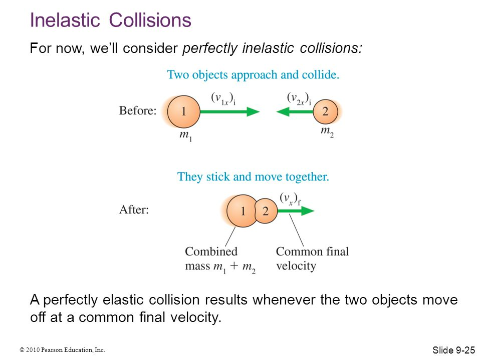 © 2010 Pearson Education, Inc. Inelastic Collisions For now, we'll consider perfectly inelastic collisions: A perfectly elastic collision results when