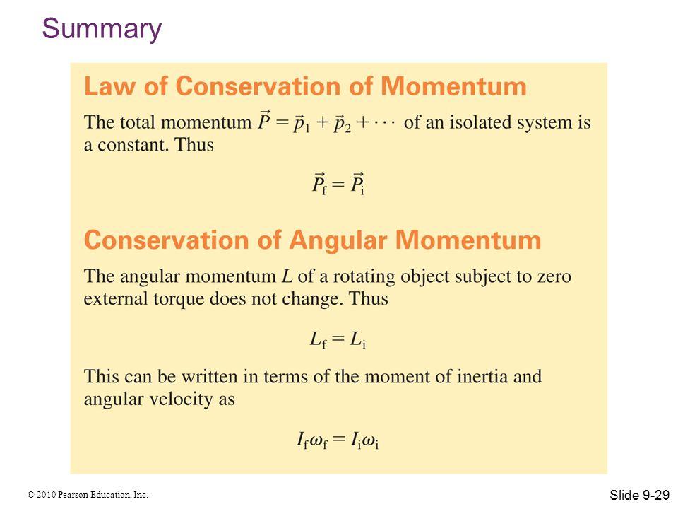 © 2010 Pearson Education, Inc. Summary Slide 9-29