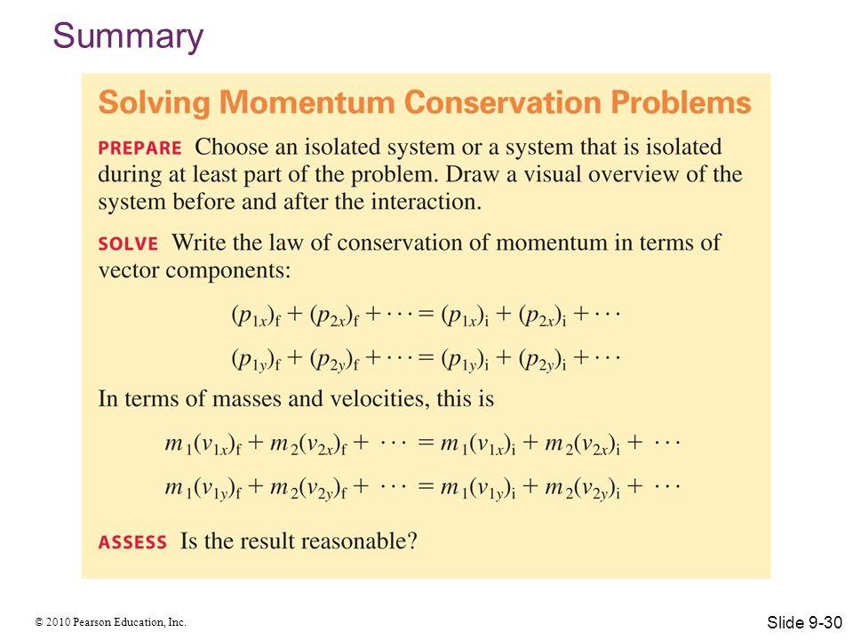 © 2010 Pearson Education, Inc. Summary Slide 9-30