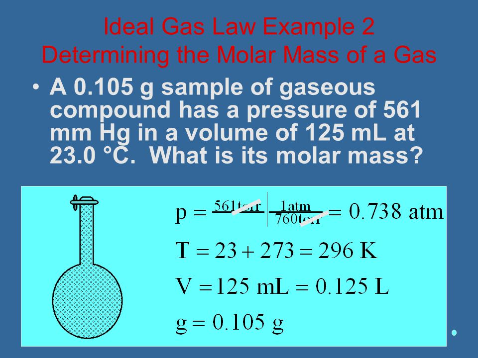A 0.105 g sample of gaseous compound has a pressure of 561 mm Hg in a volume of 125 mL at 23.0 °C. What is its molar mass? Ideal Gas Law Example 2 Det