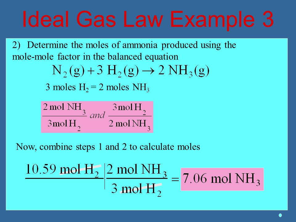Ideal Gas Law Example 3 2)Determine the moles of ammonia produced using the mole-mole factor in the balanced equation 3 moles H 2 = 2 moles NH 3 Now,