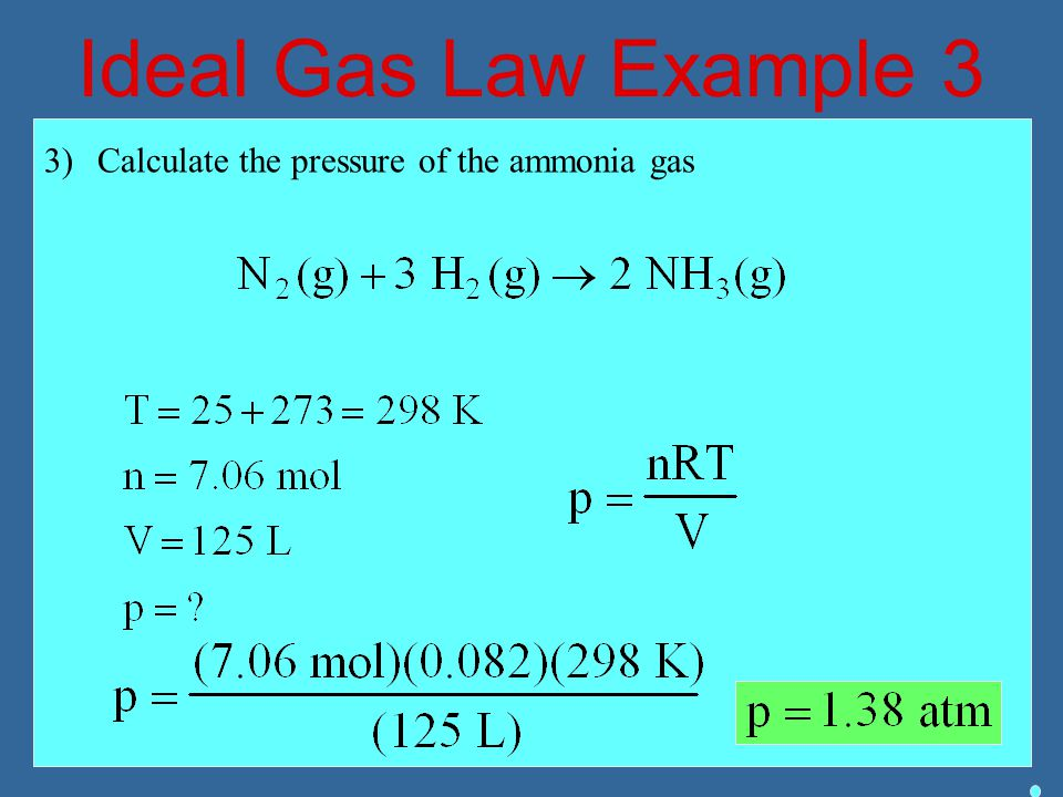 Ideal Gas Law Example 3 3)Calculate the pressure of the ammonia gas