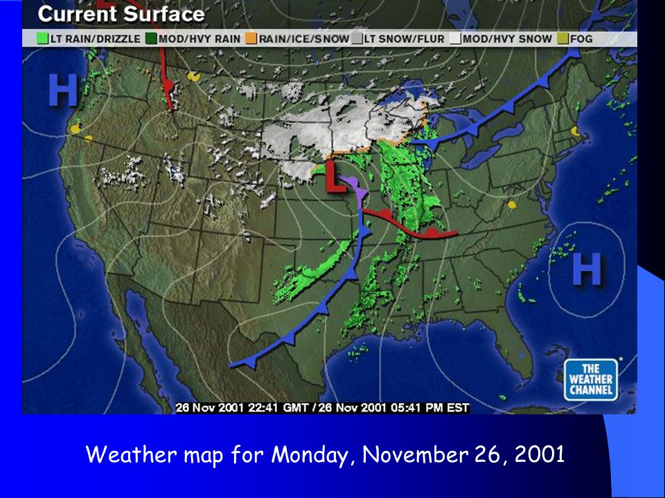 Weather map for Monday, November 26, 2001