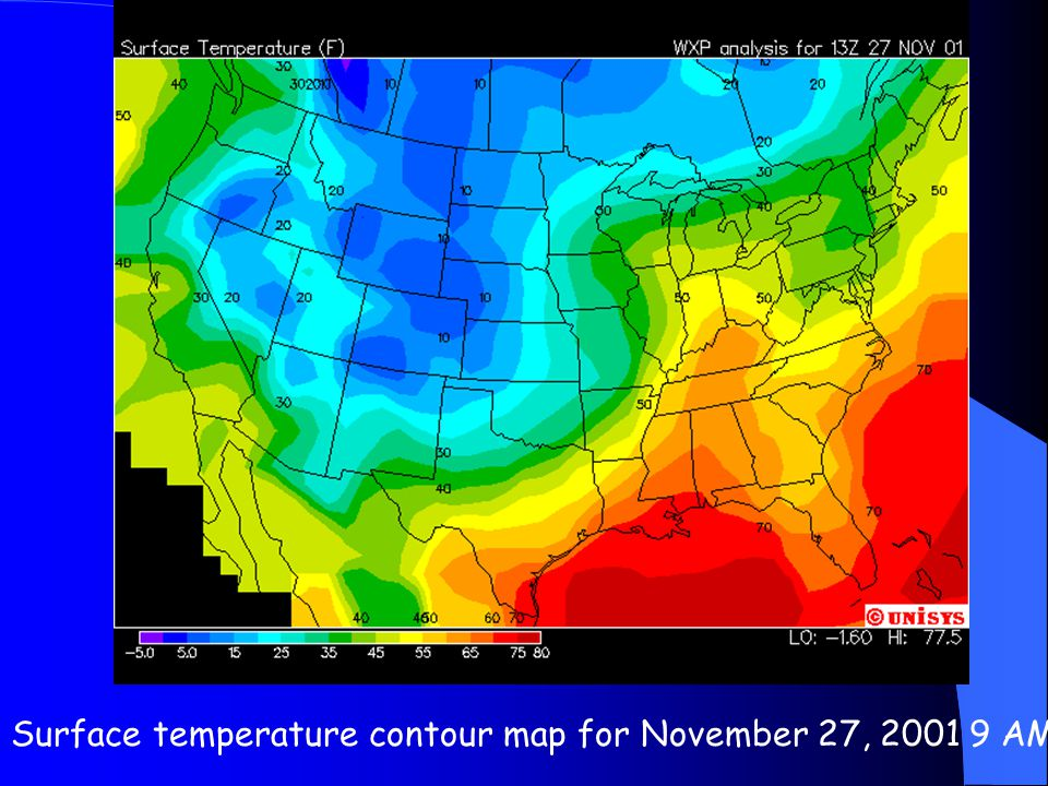 Surface temperature contour map for November 27, 2001 9 AM