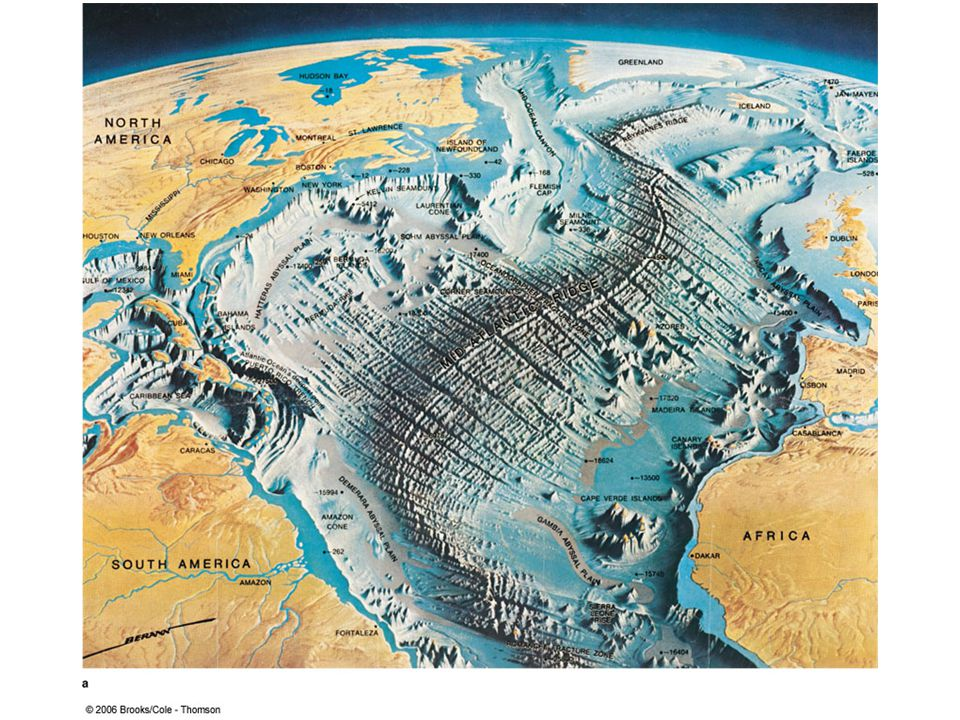 The ocean floor is mapped by bathymetry The discovery and study of the ocean floor contours is called bathymetry ( bathy = deep; meter = measure) Early bathymetric studies involved using a rope and stone, or piano wire and an anchor The Challenger expedition of the 19 th century made 492 bathymetric recordings alone!; but the process is long and tedious