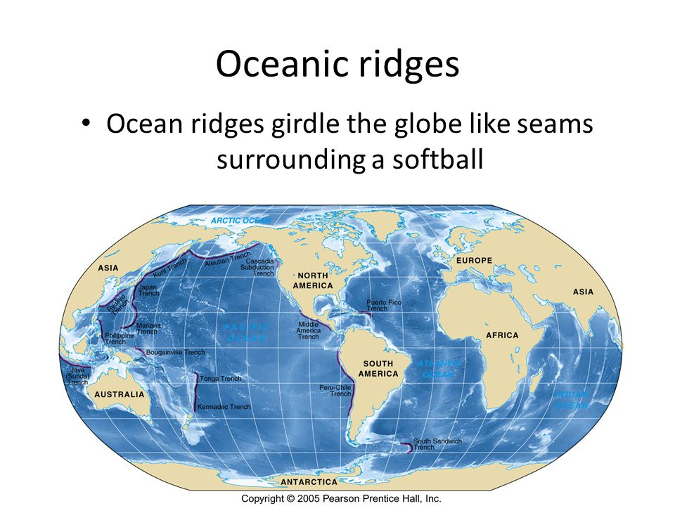 Oceanic ridges Ocean ridges girdle the globe like seams surrounding a softball