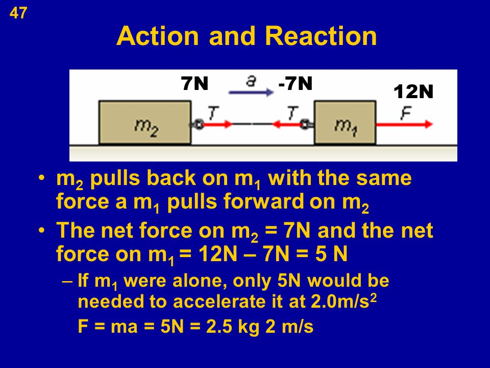 47 Action and Reaction m 2 pulls back on m 1 with the same force a m 1 pulls forward on m 2 The net force on m 2 = 7N and the net force on m 1 = 12N –