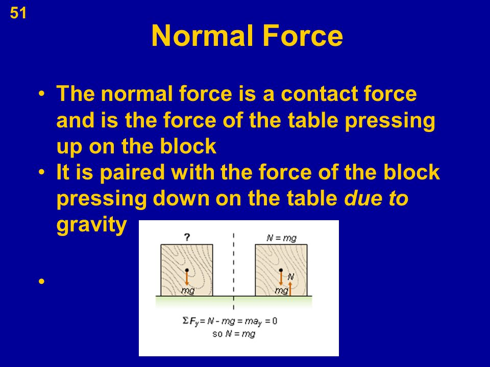 51 Normal Force The normal force is a contact force and is the force of the table pressing up on the block It is paired with the force of the block pr