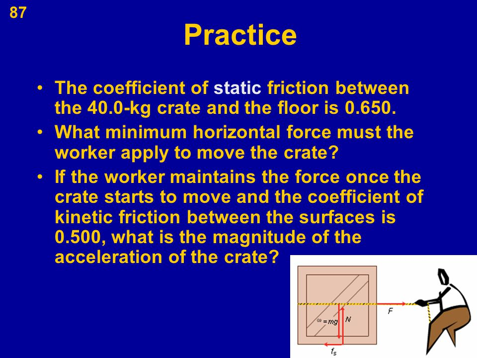 87 Practice The coefficient of static friction between the 40.0-kg crate and the floor is 0.650. What minimum horizontal force must the worker apply t