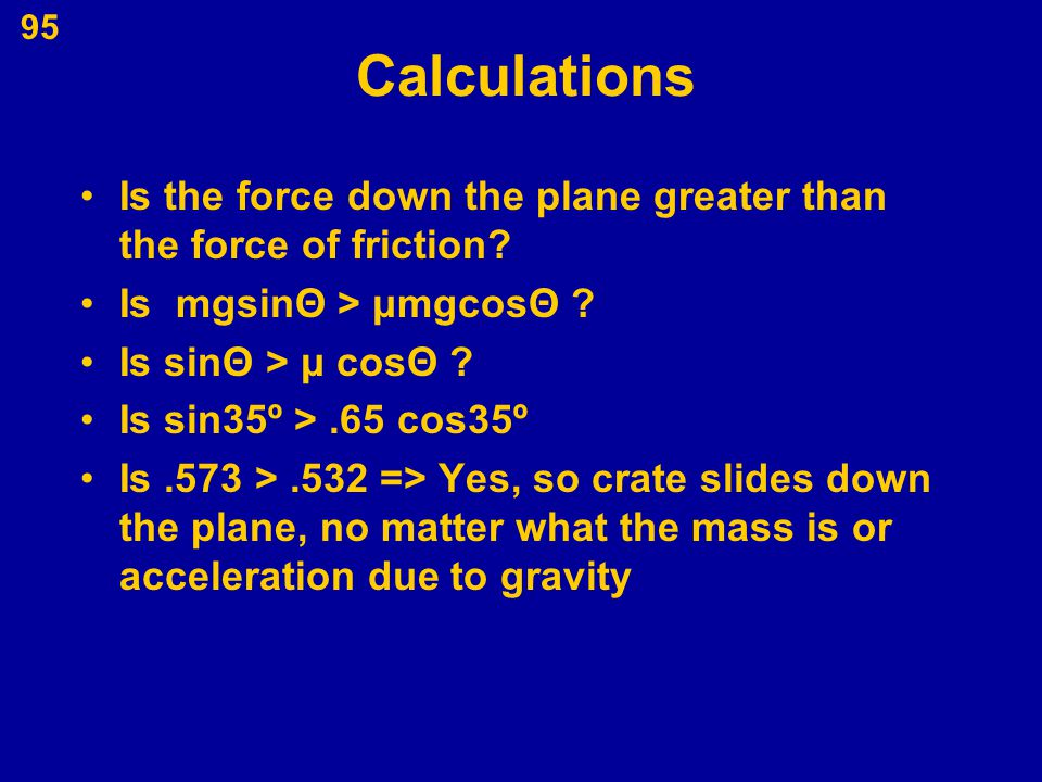 95 Calculations Is the force down the plane greater than the force of friction? Is mgsin Θ > μmgcosΘ ? Is sin Θ > μ cosΘ ? Is sin35º >.65 cos35º Is.57