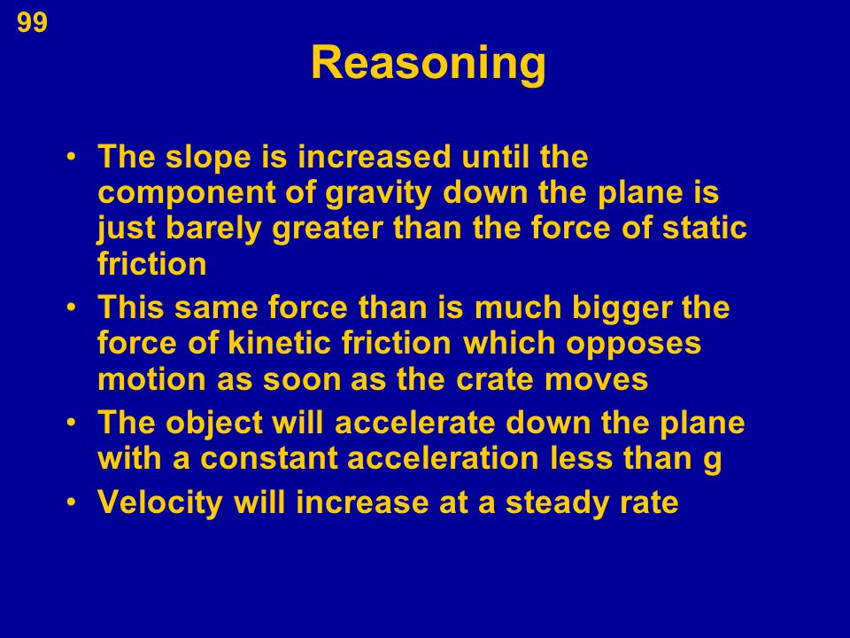 99 Reasoning The slope is increased until the component of gravity down the plane is just barely greater than the force of static friction This same f