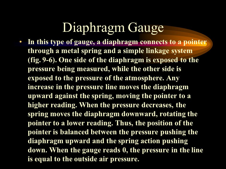 Diaphragm Gauge In this type of gauge, a diaphragm connects to a pointer through a metal spring and a simple linkage system (fig.