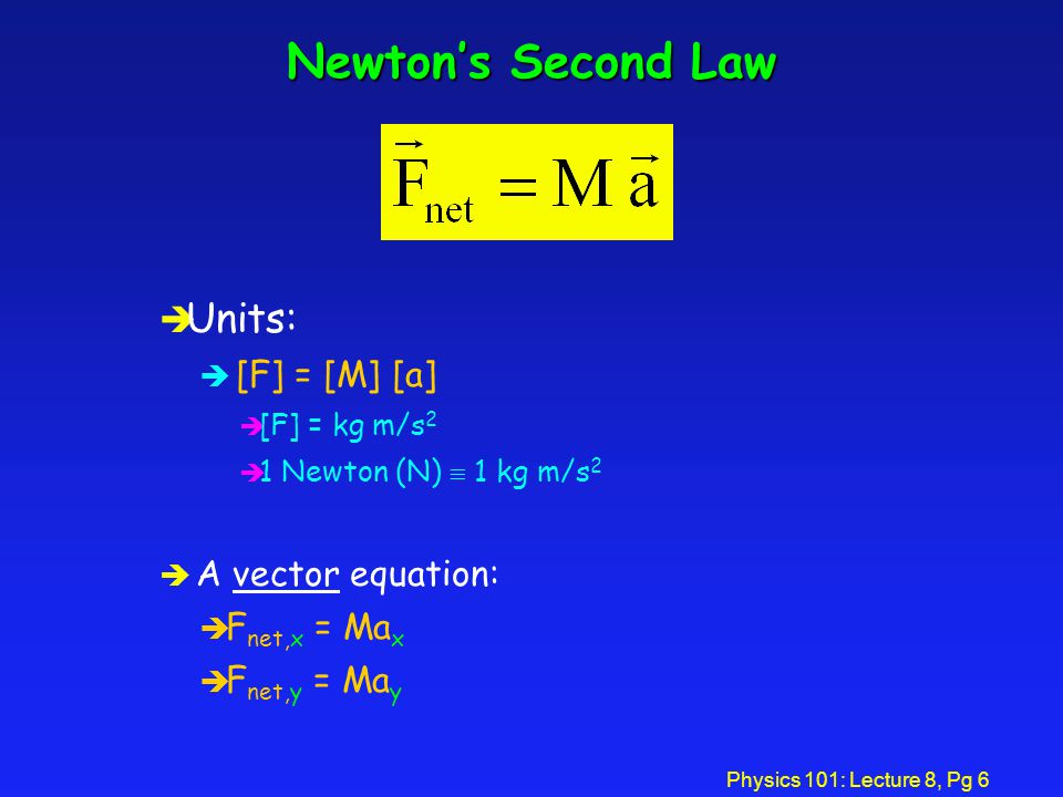 Physics 101: Lecture 8, Pg 5 Newton's Second Law èThis law tells us how motion changes when a net force is applied. è acceleration = (net force)/mass