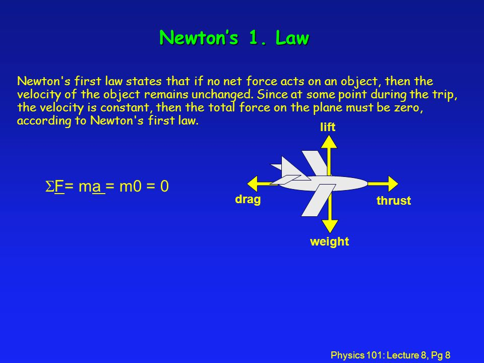 Physics 101: Lecture 8, Pg 8 Newton's 1.