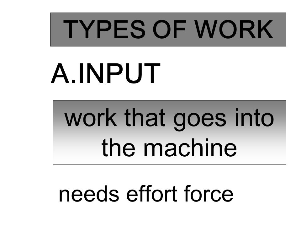 TYPES OF WORK A.INPUT work that goes into the machine needs effort force