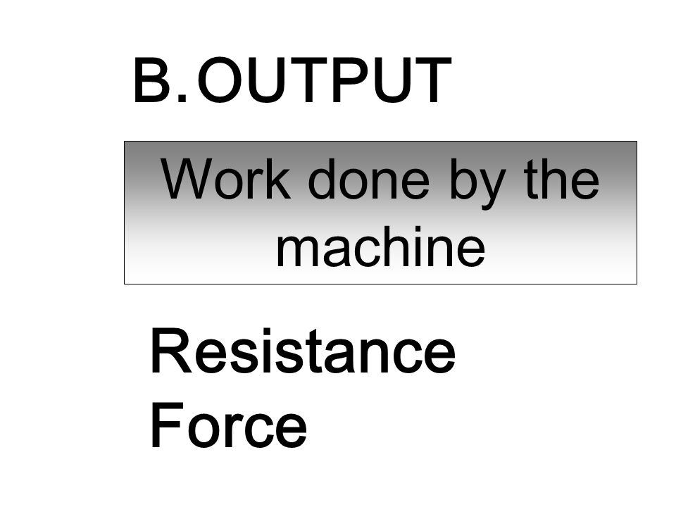 B. OUTPUT Work done by the machine Resistance Force