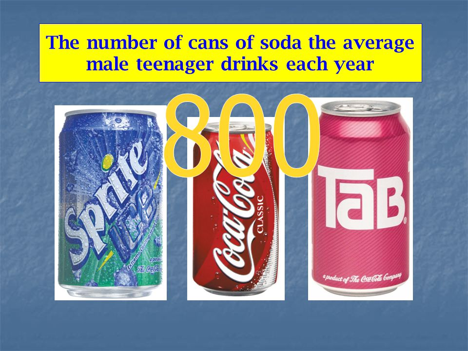 The number of cans of soda the average male teenager drinks each year