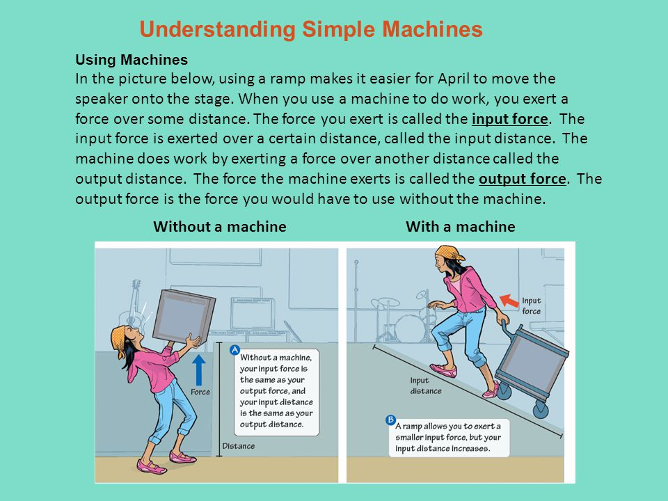 Understanding Simple Machines Using Machines In the picture below, using a ramp makes it easier for April to move the speaker onto the stage.
