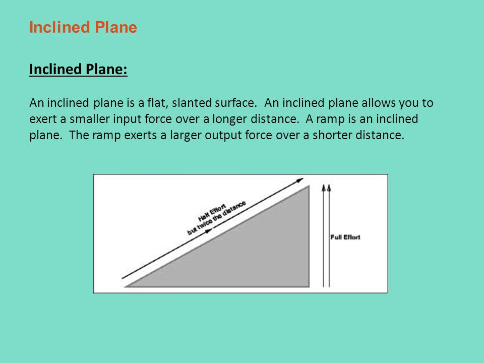 Inclined Plane Inclined Plane: An inclined plane is a flat, slanted surface.