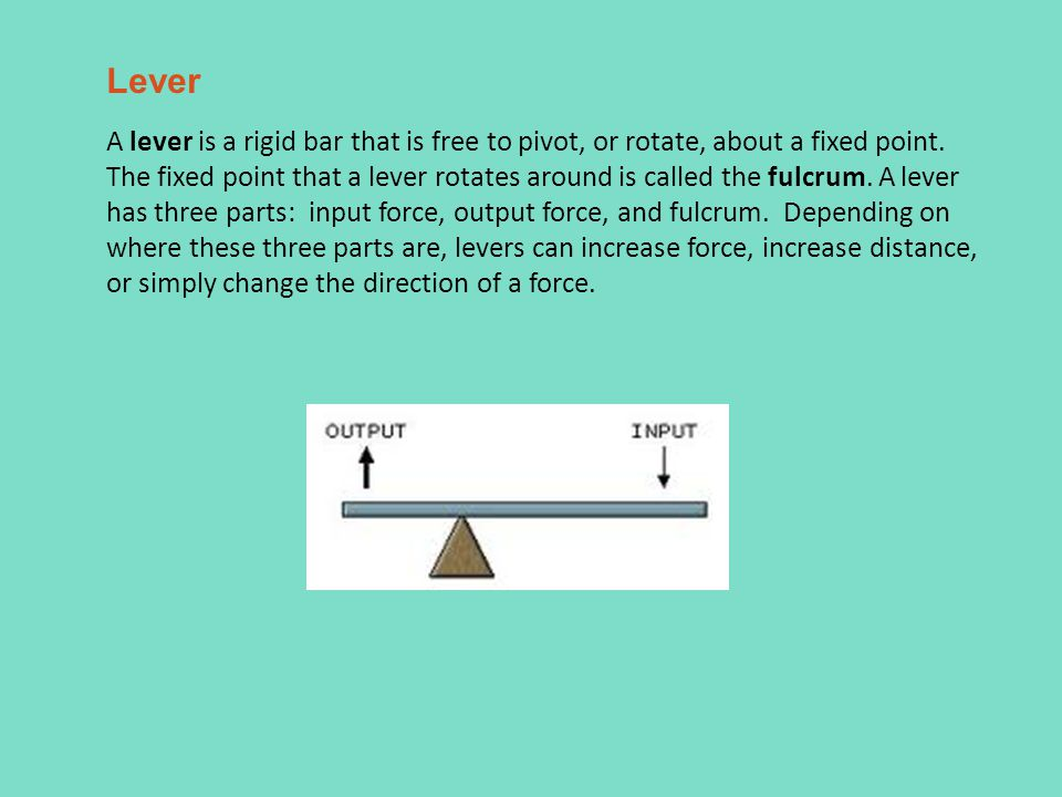 Lever A lever is a rigid bar that is free to pivot, or rotate, about a fixed point.