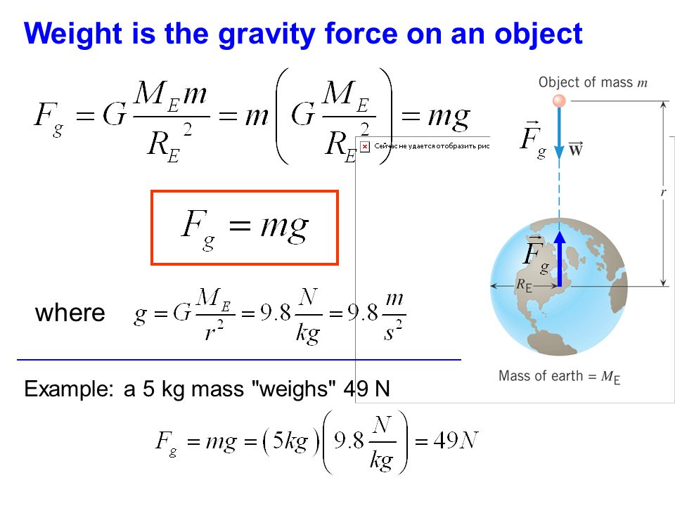 Weight is the gravity force on an object where Example: a 5 kg mass