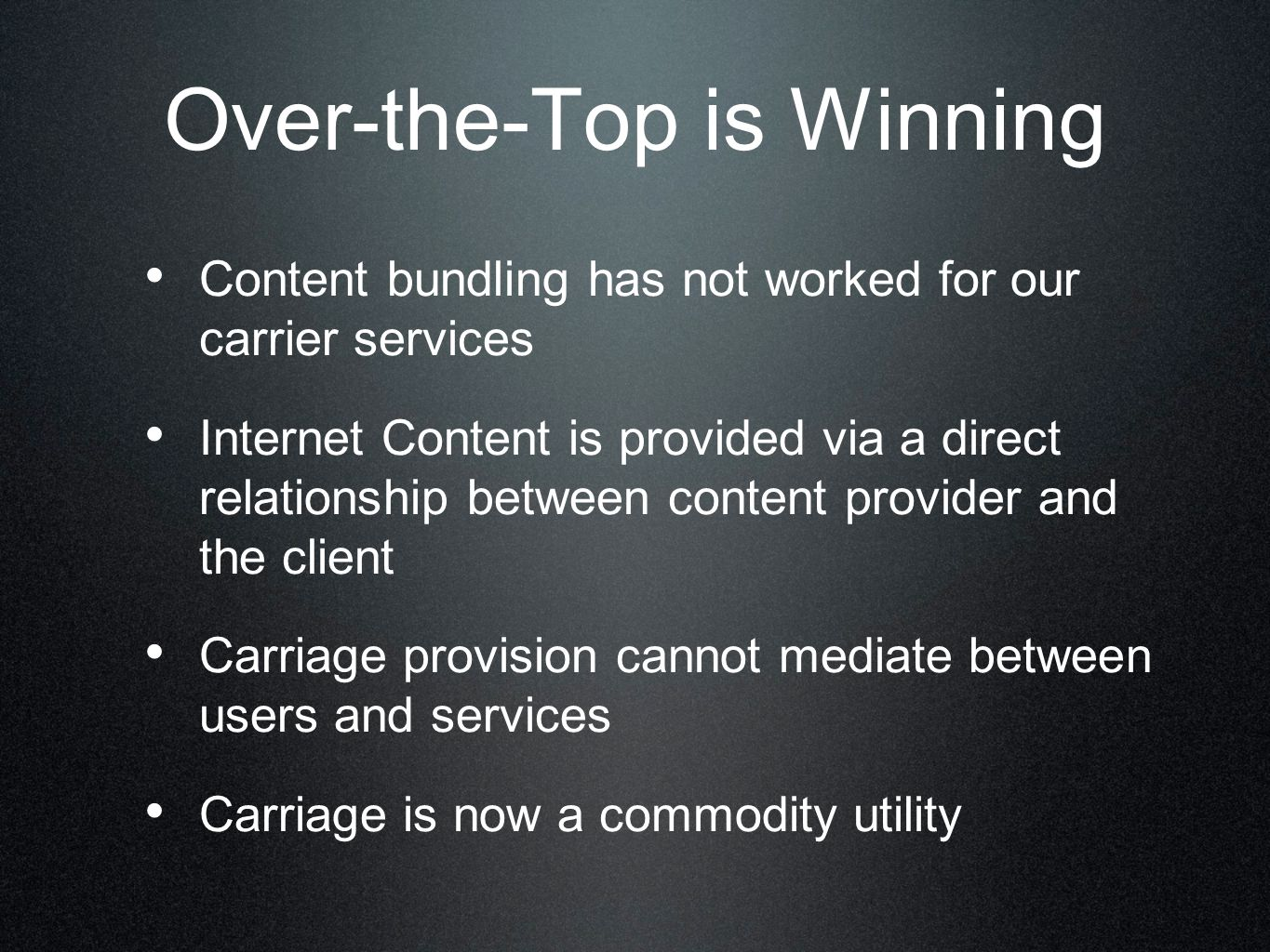 The Internet is Complex It's one service, but the combination of many diverse independent elements Noone is in charge There is no script And when there are disruptive changes then we don't all pull in the same direction