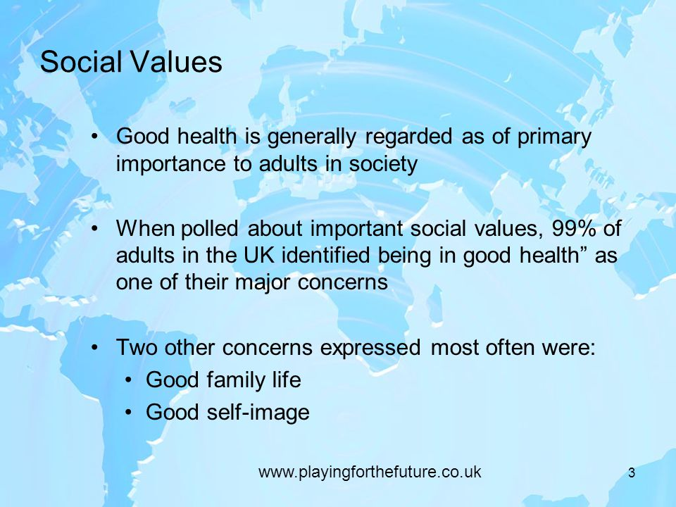 Social Values Good health is generally regarded as of primary importance to adults in society When polled about important social values, 99% of adults in the UK identified being in good health as one of their major concerns Two other concerns expressed most often were: Good family life Good self-image 3