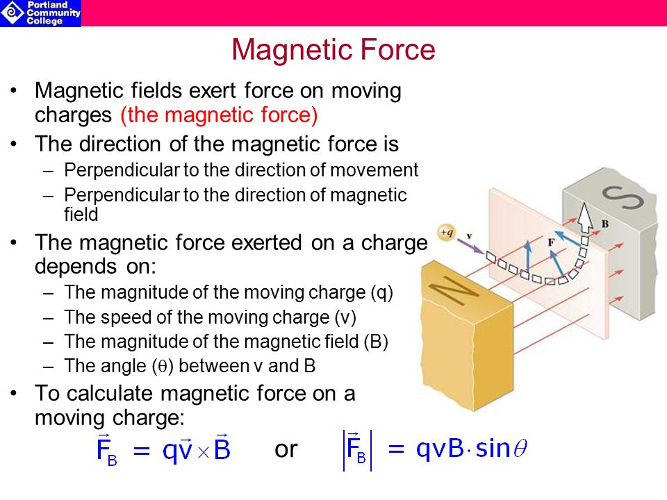 Magnetic Force on a Current-Carrying Wire Current carrying wires have moving charge When placed in a magnetic field, the field can exert a force on these moving charges The magnetic force vector exerted on a current carrying wire of length, L, is: The magnitude of the magnetic force vector: Example: i