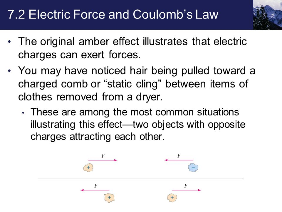 7.2 Electric Force and Coulomb's Law The original amber effect illustrates that electric charges can exert forces.