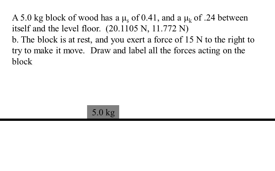 A 5.0 kg block of wood has a μ s of 0.41, and a μ k of.24 between itself and the level floor.