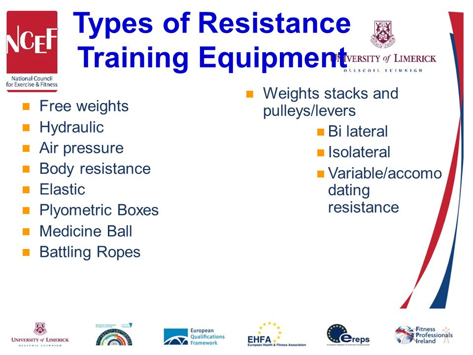 Types of Resistance Training Equipment Free weights Hydraulic Air pressure Body resistance Elastic Plyometric Boxes Medicine Ball Battling Ropes Weights stacks and pulleys/levers Bi lateral Isolateral Variable/accomo dating resistance