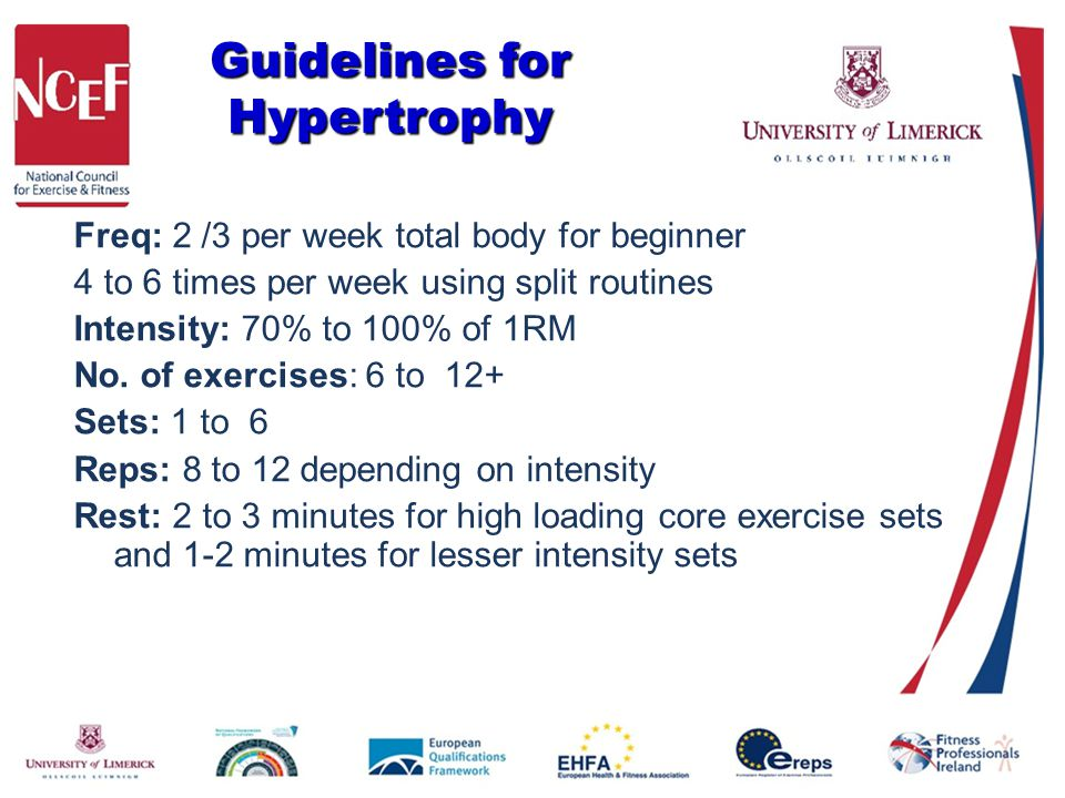 Guidelines for Hypertrophy Freq: 2 /3 per week total body for beginner 4 to 6 times per week using split routines Intensity: 70% to 100% of 1RM No. of