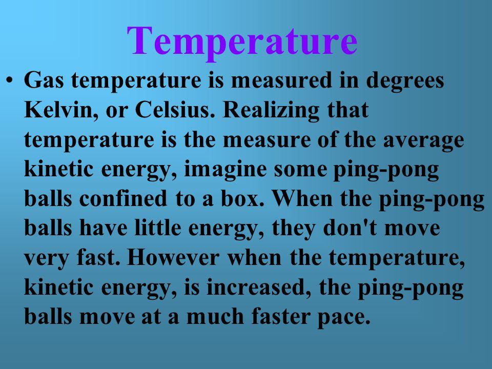 Temperature Gas temperature is measured in degrees Kelvin, or Celsius.