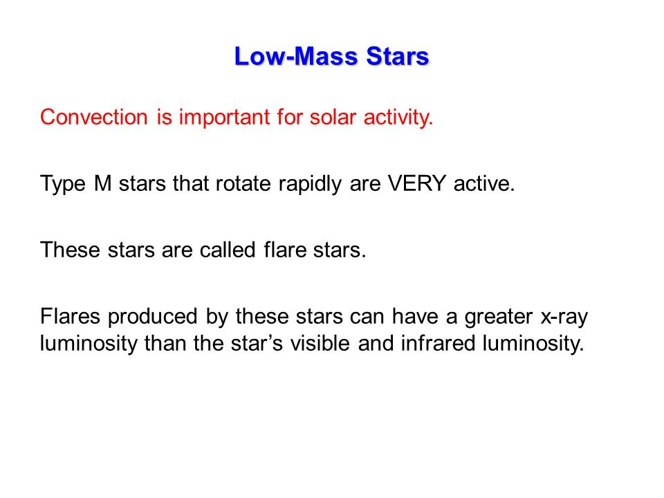 Convection is important for solar activity. Type M stars that rotate rapidly are VERY active.