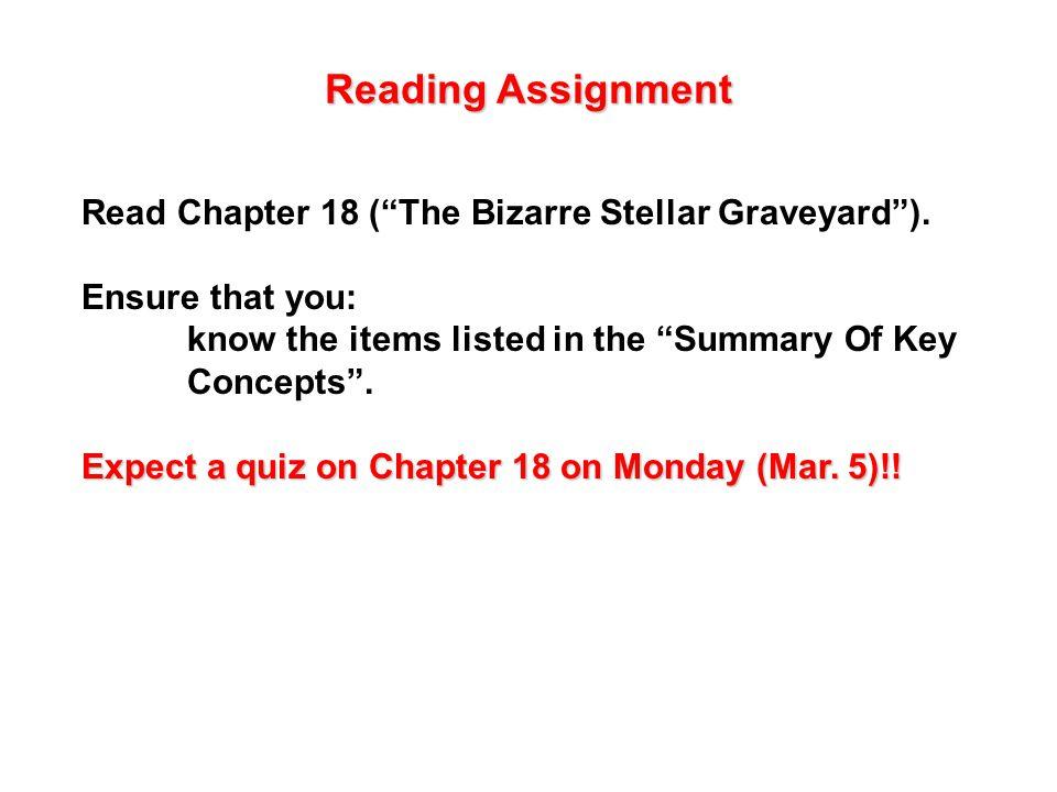 Reading Assignment Read Chapter 18 ( The Bizarre Stellar Graveyard ).