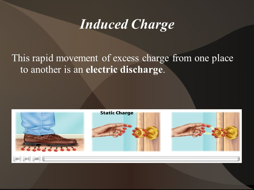 Induced Charge This rapid movement of excess charge from one place to another is an electric discharge.