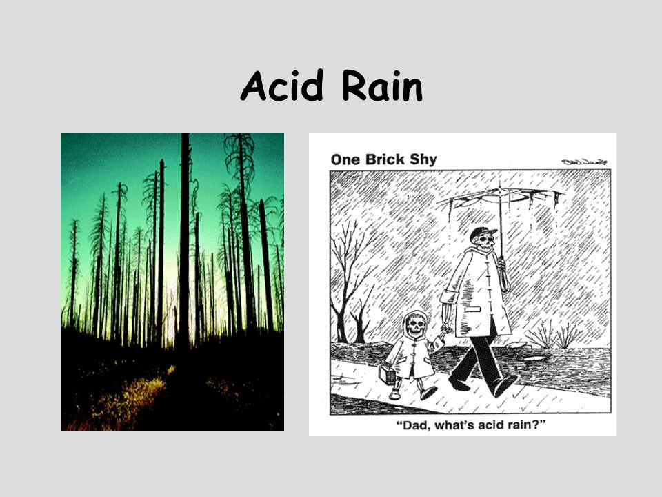 Acid Rain 1.2NO 2 (g) + H 2 O (l)  HNO 2 (aq) + HNO 3 (aq) 2.2SO 2 (g) + O 2 (g)  2SO 3 (g) 3.SO 3 (g) + H 2 O (l)  H 2 SO 4 (aq)