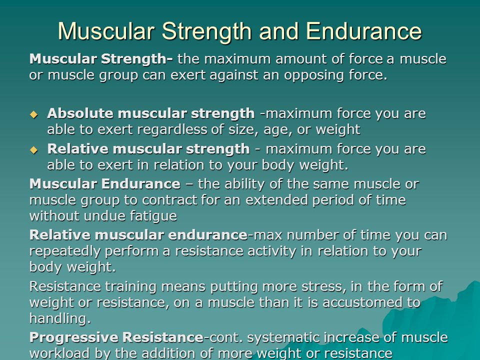  Weight training – general term refers to use of weights  Weight lifting – competitive sport designed to build power and strength  Bodybuilding – refers to competitive sport building muscle size & shape most important  Strength training or muscle conditioning – refers to training done by athletes in competitive sports.