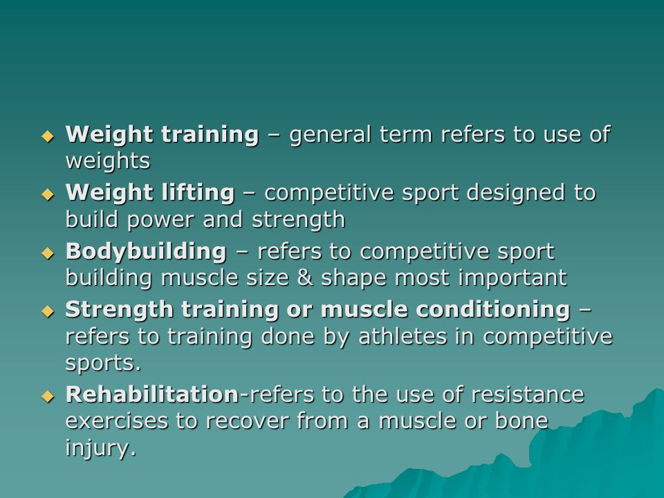 How and why muscles get stronger -Level of strength -Training Intensity  Heredity –Fast-twitch –Slow-twitch  Muscle Size  Nerve Function  Other factors –Consistent training habits –Level of strength –Training Intensity –Length of your program