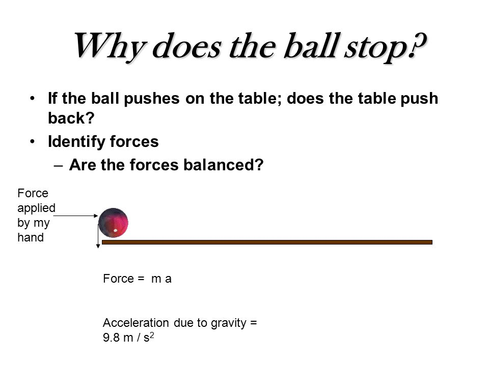 Why does the ball stop. If the ball pushes on the table; does the table push back.