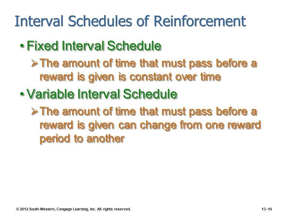 © 2012 South-Western, Cengage Learning, Inc. All rights reserved.13–16 Interval Schedules of Reinforcement Fixed Interval ScheduleFixed Interval Sched
