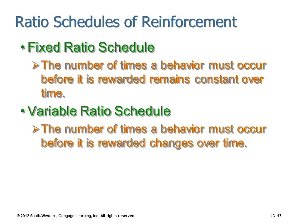 © 2012 South-Western, Cengage Learning, Inc. All rights reserved.13–17 Ratio Schedules of Reinforcement Fixed Ratio ScheduleFixed Ratio Schedule  The