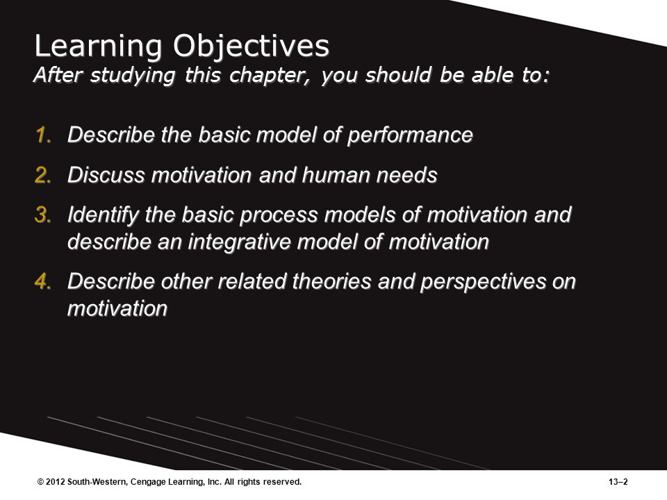 13–2 Learning Objectives After studying this chapter, you should be able to: 1.Describe the basic model of performance 2.Discuss motivation and human needs 3.Identify the basic process models of motivation and describe an integrative model of motivation 4.Describe other related theories and perspectives on motivation 1.Describe the basic model of performance 2.Discuss motivation and human needs 3.Identify the basic process models of motivation and describe an integrative model of motivation 4.Describe other related theories and perspectives on motivation