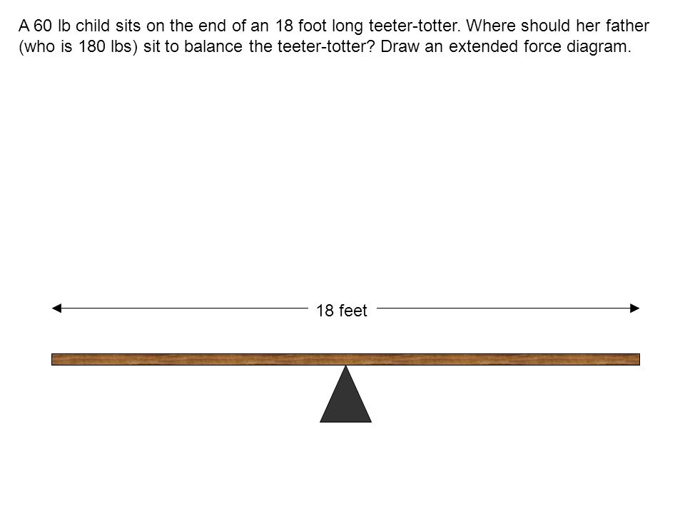 A 60 lb child sits on the end of an 18 foot long teeter-totter.