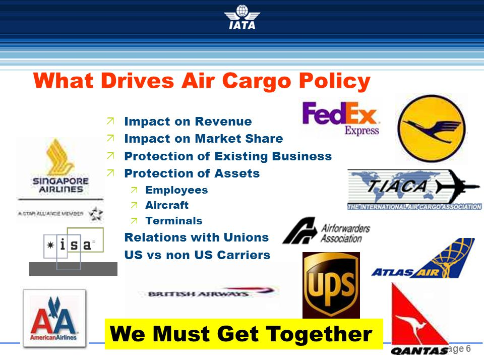 Page 6 What Drives Air Cargo Policy  Impact on Revenue  Impact on Market Share  Protection of Existing Business  Protection of Assets  Employees  Aircraft  Terminals  Relations with Unions  US vs non US Carriers We Must Get Together
