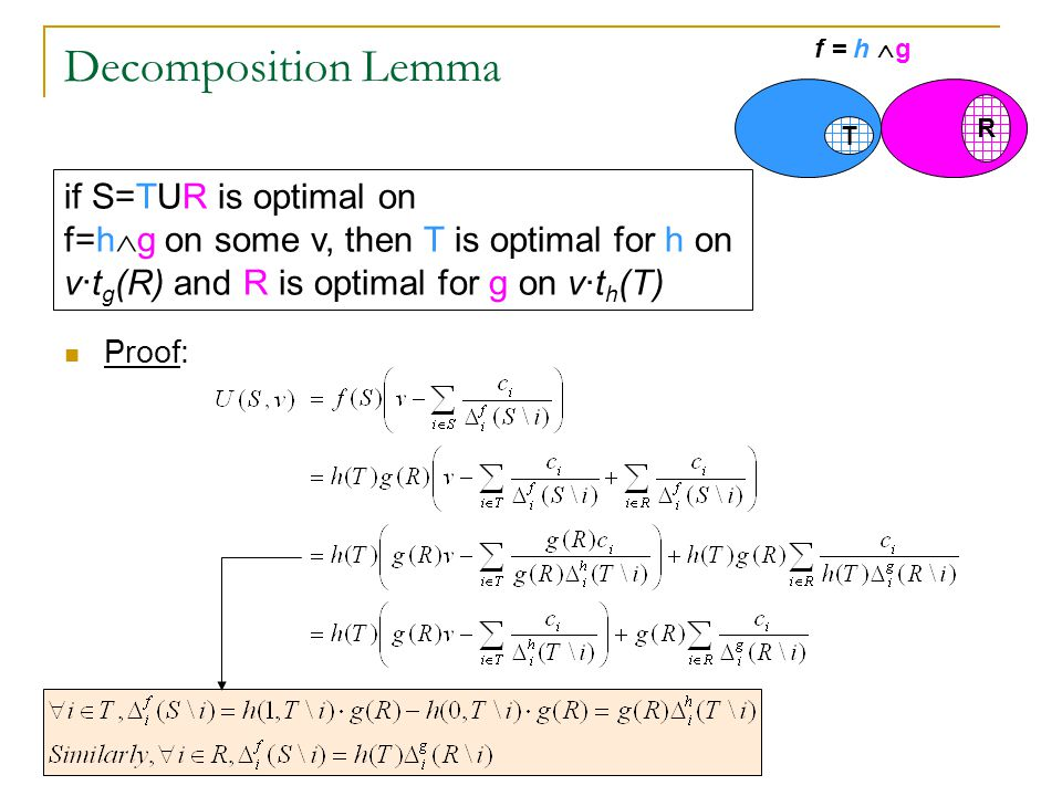 Decomposition Lemma Proof: f = h  g T R if S=TUR is optimal on f=h  g on some v, then T is optimal for h on v · t g (R) and R is optimal for g on v·t h (T)