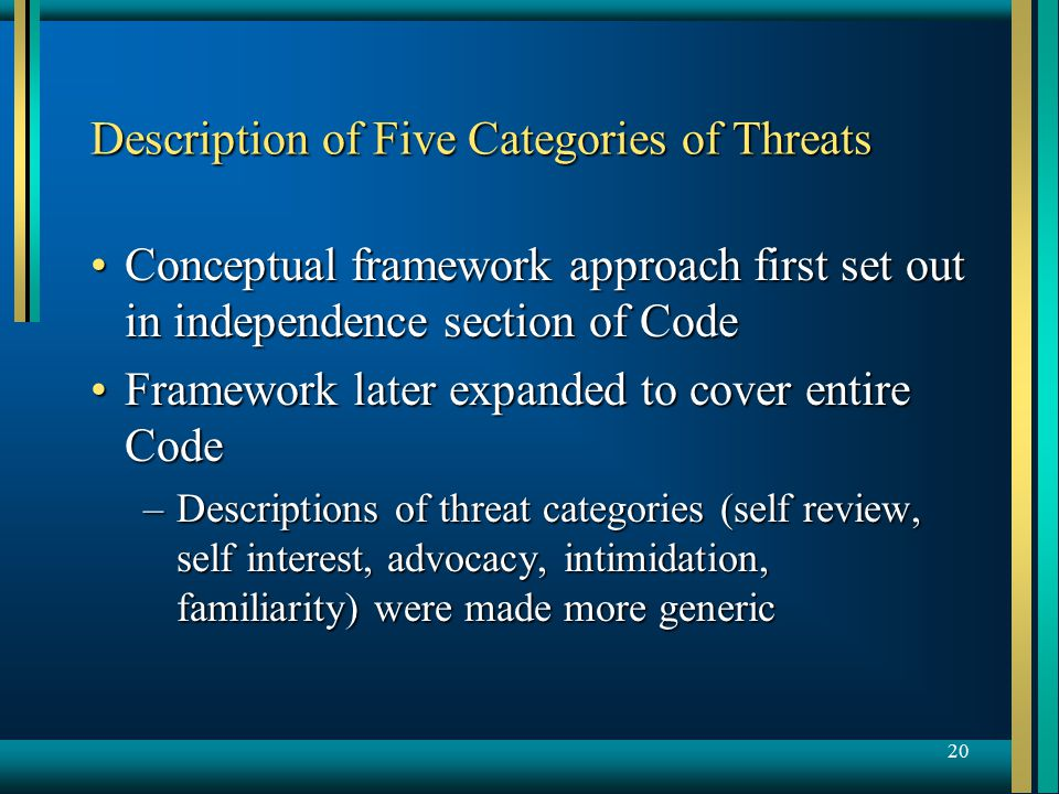 20 Description of Five Categories of Threats Conceptual framework approach first set out in independence section of CodeConceptual framework approach first set out in independence section of Code Framework later expanded to cover entire CodeFramework later expanded to cover entire Code –Descriptions of threat categories (self review, self interest, advocacy, intimidation, familiarity) were made more generic