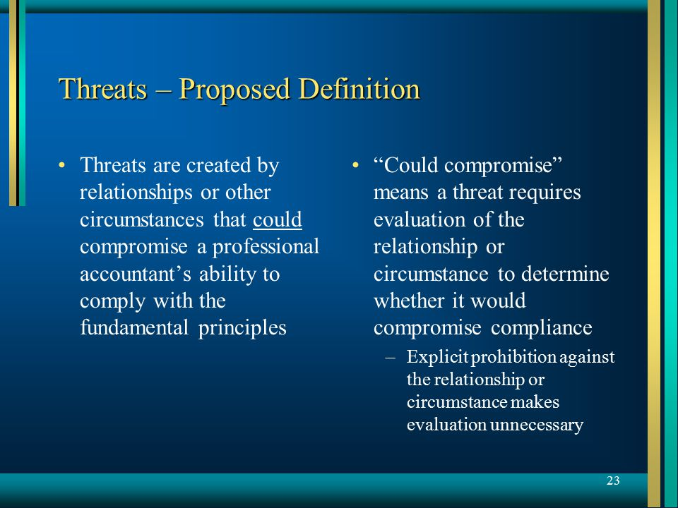 23 Threats – Proposed Definition Threats are created by relationships or other circumstances that could compromise a professional accountant's ability to comply with the fundamental principles Could compromise means a threat requires evaluation of the relationship or circumstance to determine whether it would compromise compliance –Explicit prohibition against the relationship or circumstance makes evaluation unnecessary
