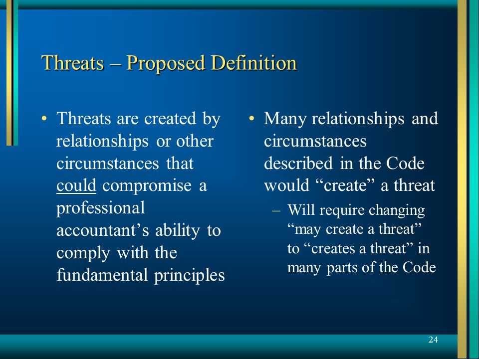 24 Threats – Proposed Definition Threats are created by relationships or other circumstances that could compromise a professional accountant's ability to comply with the fundamental principles Many relationships and circumstances described in the Code would create a threat –Will require changing may create a threat to creates a threat in many parts of the Code